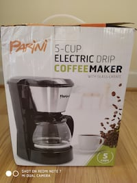 PARINI 5-Cup Electric Drip Coffee Maker (with Glass Carafe) Silver Spring