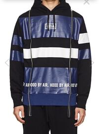 Hood By Air Logo Striped Cotton Terry Hoodie size L 紐約, 11354