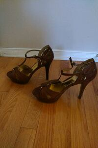Pair of brown Guess open-toe ankle strap heels Toronto