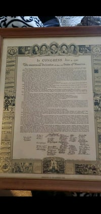 Declaration of independence in vintage frame