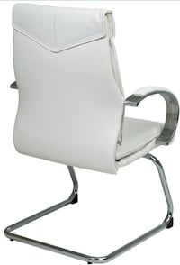 Office Star Deluxe Mid Back White Leather Visitors Chair with Chrome Finish Base and Padded Polished Aluminum Arms MIAMI