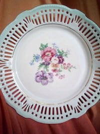 white and red floral ceramic plate 868 mi