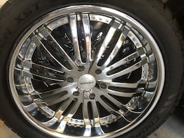 4 Custom wheels and tires, fits GM vehicles