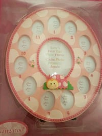 round pink baby's first year photo frame