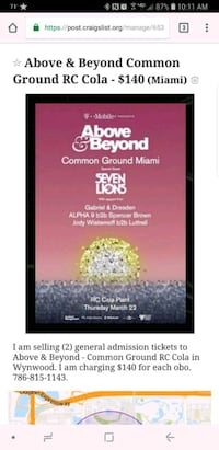 Above and Beyond Common Ground RC Cola poster scre Miami, 33174