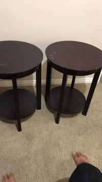 two round black wooden side tables Regina, S4N