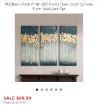 3-panel gray and yellow abstract paintings with text overlay