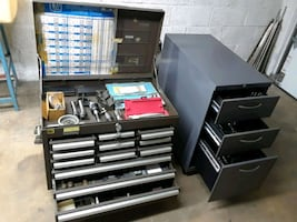 Toolbox and cabinet full wheet tools and instruments for machine shop.