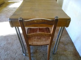 ANTIQUE WOOD-TOP TABLE