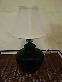 12 in tall black ceramic lamp with white shade