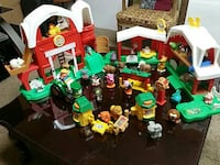 green-yellow-white-and-red farm toy set