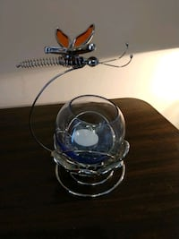 Glass Dragonfly and Lotus Flower Tealight Candle H Hanover, 17331