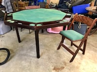 Wood poker table and chairs Maryville