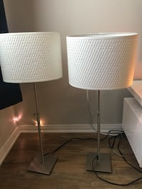 two gray metal base white shade table lamps Los Angeles, 90045