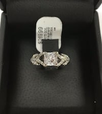 14K White Gold Solitaire CZ Ring with Diamond Accents West Jordan