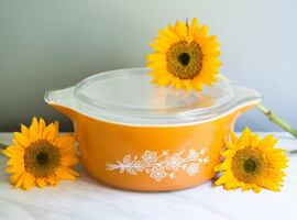 Yellow Pyrex Butterfly Gold Pattern