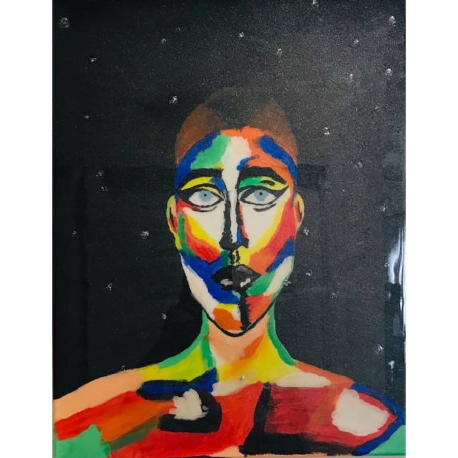 Acrylic painting Colorfull  face 9c866851-b2f7-48f0-92a6-c4db921f5a4a