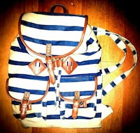 blue and white stripe backpack