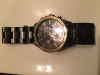 round black chronograph watch with link bracelet FORTWORTH
