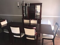 Dining room set, cabinet, 6 chairs. Excellent condition . Must go ASAP. First good offer takes it.