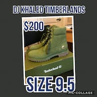 pair of size 9.5 green Timberland suede work boots screenshot