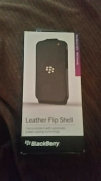 Blackberry Q10 Leather Flip Shell Carrying Cover Case - Black