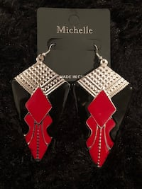 Black, red, and silver earrings  Temple Hills, 20748