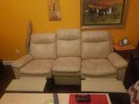 white leather 3-seat recliner sofa