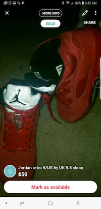 pair of red-and-black Air Jordan shoes Charlotte, 28270