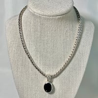 Sterling Silver Byzantine Chain with Black Onyx Pendant Chantilly, 20151