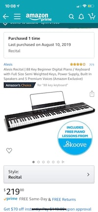 88-key Alesis Recital keyboard + pedal Lynn, 01905