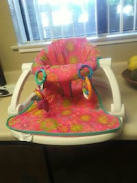 white, pink and green floral sit me up floor seat