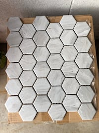 "2"" light grey hexagon porcelain mosaic Oakville"