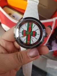 round black and red chronograph watch with white strap Gaithersburg, 20877