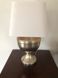 brass base white shade table lamp TORONTO