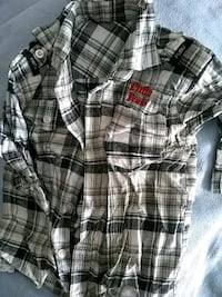 white and black plaid button-up shirt Kingman