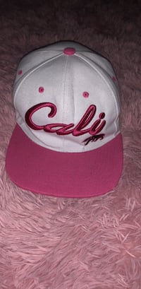 White and pink Cali fitted cap Long Beach, 90805