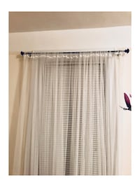 One 44'' Black Curtain Rod with Curtains New York, 11375