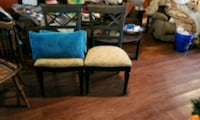 two brown wooden framed blue padded chairs Cape Carteret, 28584