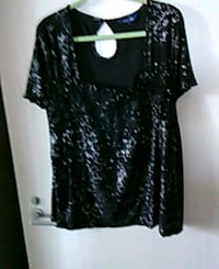 3x black & grey top. Gathered in the front. Edmonton, T5K 2A6