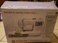 white and red Singer electric sewing machine box Alamo